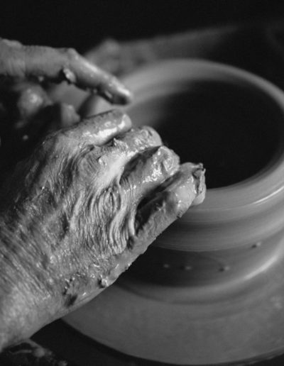 Clive Pearson making a bowl on the wheel