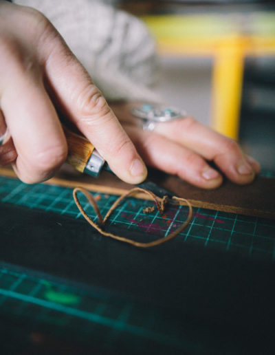 Cutting the edge of a leather belt