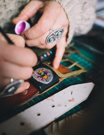 Painting a leather belt