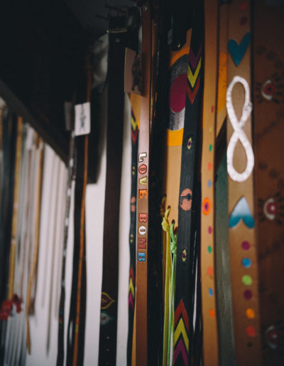 Strung up leather colourful belts