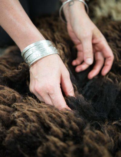Rosie cleaning a wool fleece