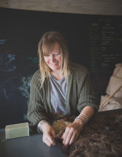 Rosie sewing a brown fleece