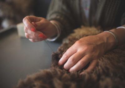 Rosie Sewing a Fleece