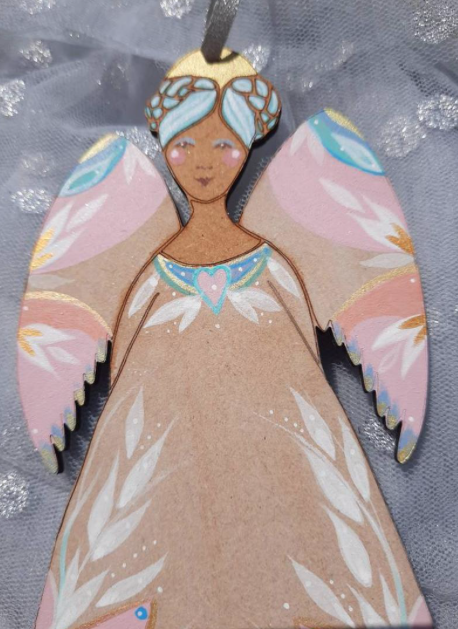 Wooden painted angel