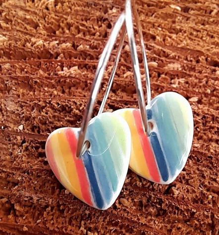 Ceramic rainbow heart earrings