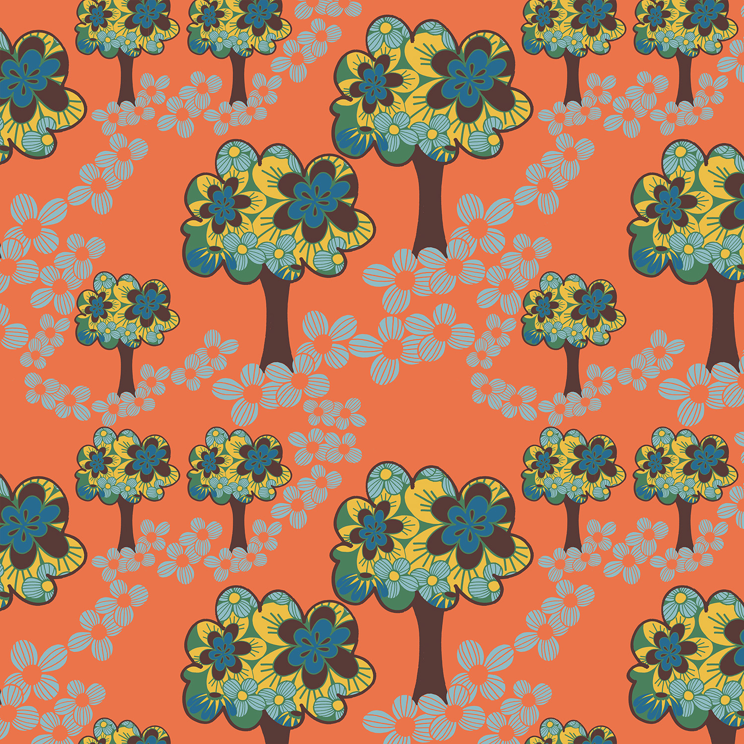 Colourful design of trees