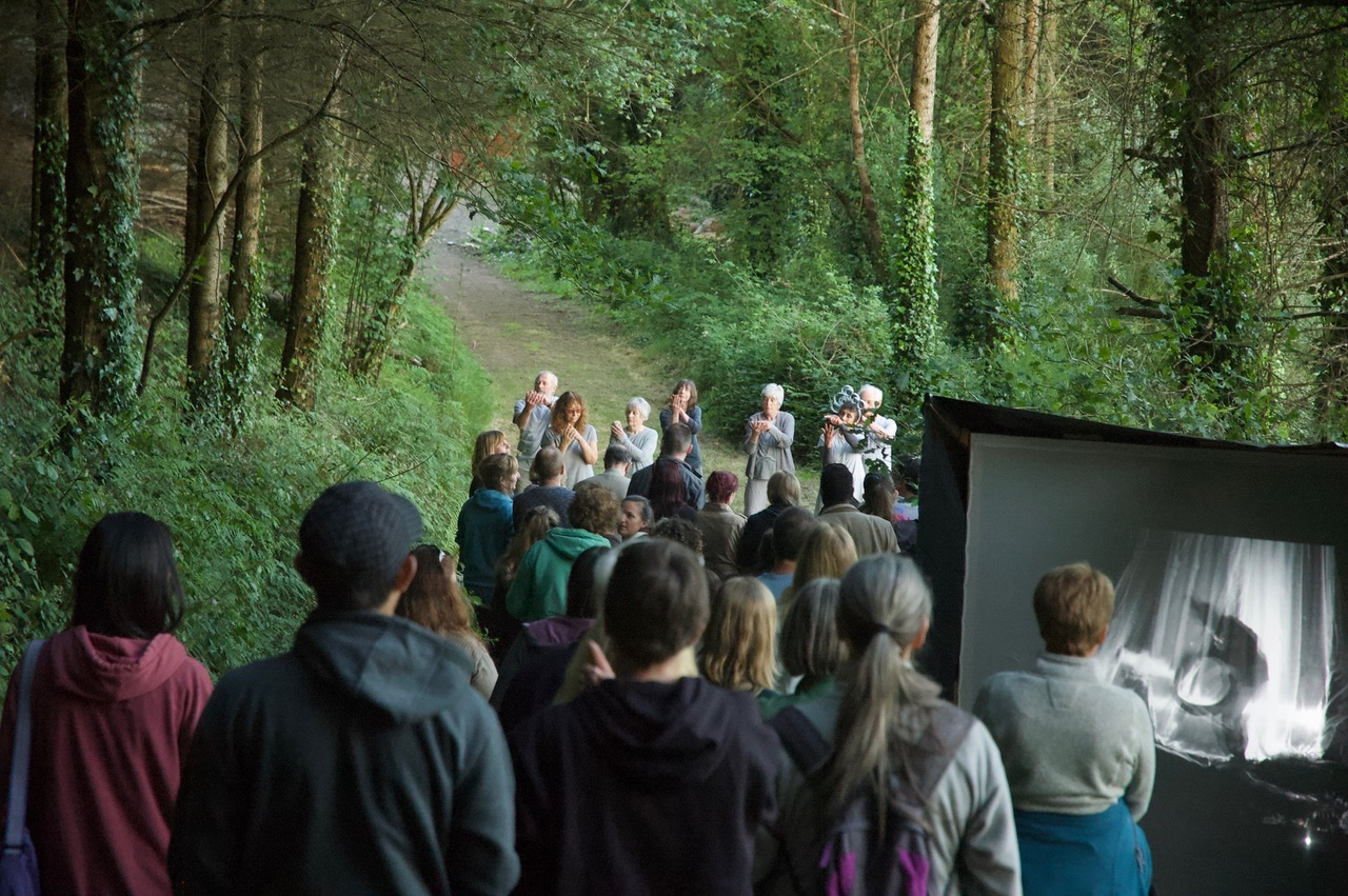 Crowed gathering for a performance in a woodland