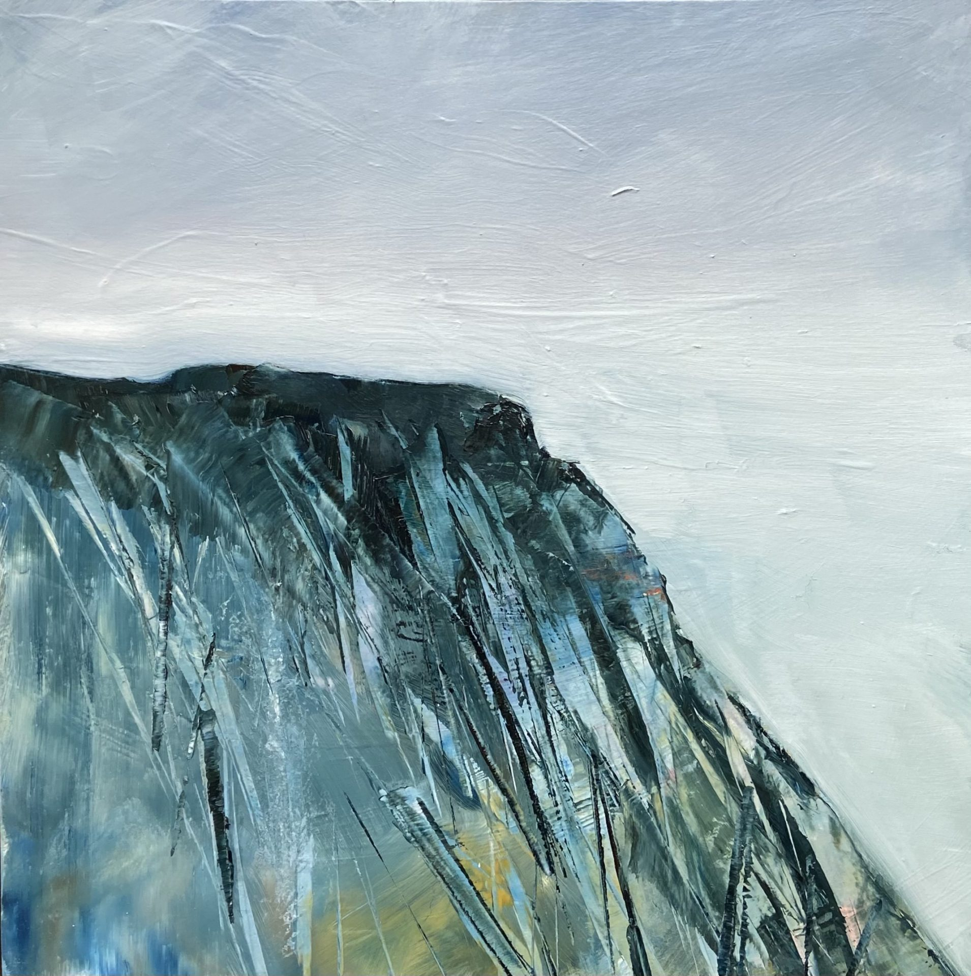 Painting of a mountain in blues and greens