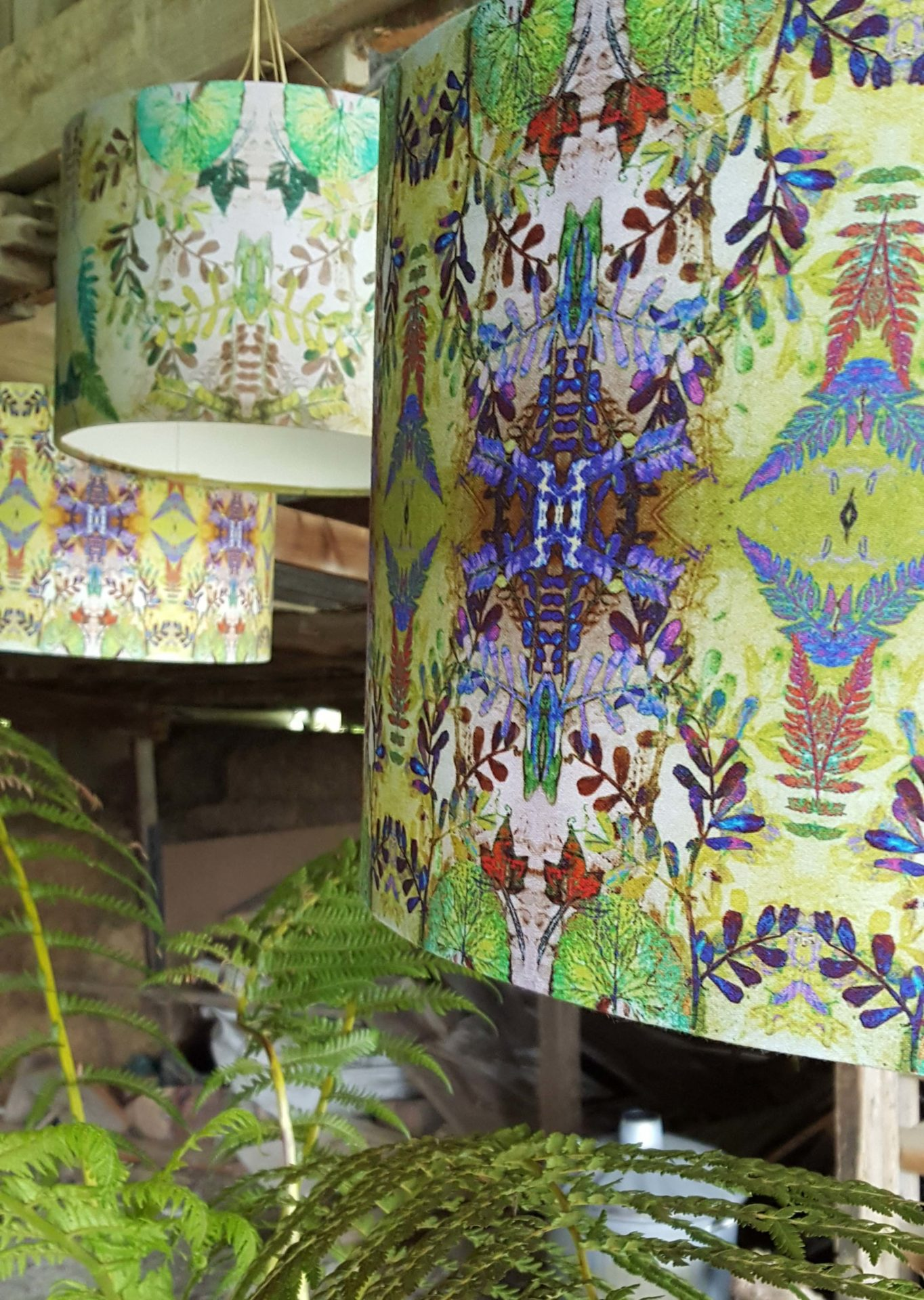 Arty Lampshades in the Barn