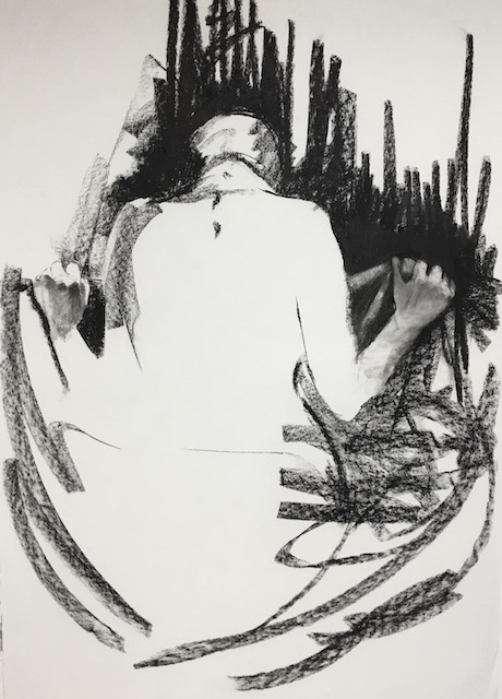 A black and white drawing of a person hunched over