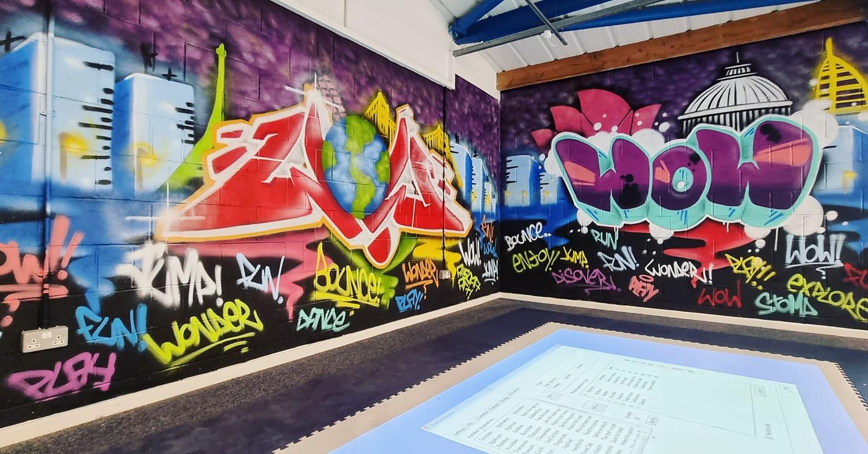 Jaz graffiti in a room