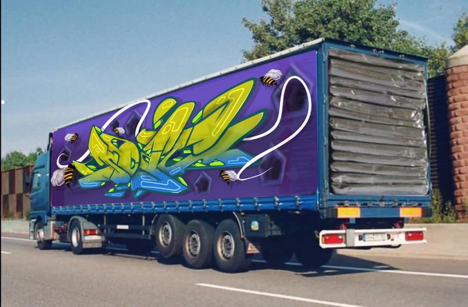 Graffiti on the side of a lorry