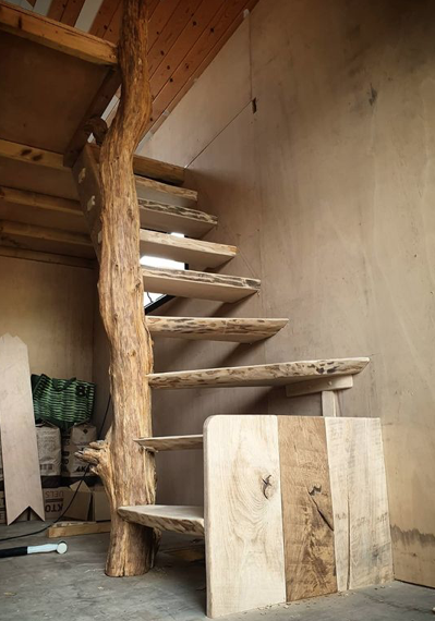 wood stairs made from driftwood style wood