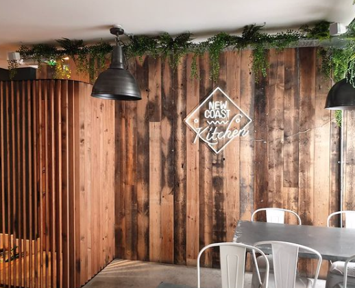 Wooden wall cladding in a bar/restaurant